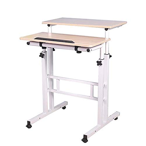 Mind Reader Multipurpose Home Office Computer, Mobile Sit and Stand, Workstation Desk, White