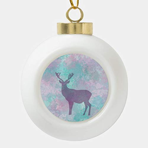 SLobyy Christmas Ball Ornaments, Winter Frost Deer Silhouette Pastel Color Ornament, Shatterproof Christmas Decorations Tree Balls for Holiday Wedding Party Decoration