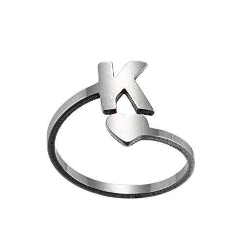 HINK Fashion 26 English Letter Opening Rings Stainless Steel Girls Love Retro Jewelry Rings Jewelry & Watches For Woman Valentine Easter Gift