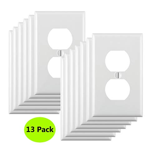 13-Pack, Duplex Receptacle Outlet Wall Plates, Standard Size,Impact Resistance, Anti Aging and High Temperature Resistance PC Face Plates,White