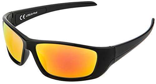 La Optica B.L.M. UV400 CAT 3 Unisex Damen Herren Sonnenbrille Sportbrille Fahrradbrille Tennis - Schwarz (Gläser: Rot Verspiegelt)