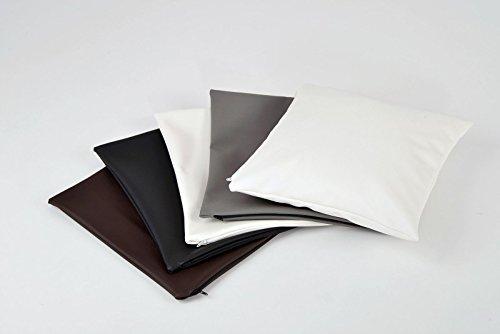 animal-design Kissen-hülle 40x40 cm Kissen-bezug Kunst-Leder weiß, schwarz, braun oder grau, Farbe:grau
