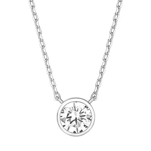 PAVOI 14K White Gold Plated 1.00 ct (D Color, VVS Clarity) CZ Simulated Diamond Bezel-Set Solitaire Choker Necklace | Sterling Silver Necklace for Women