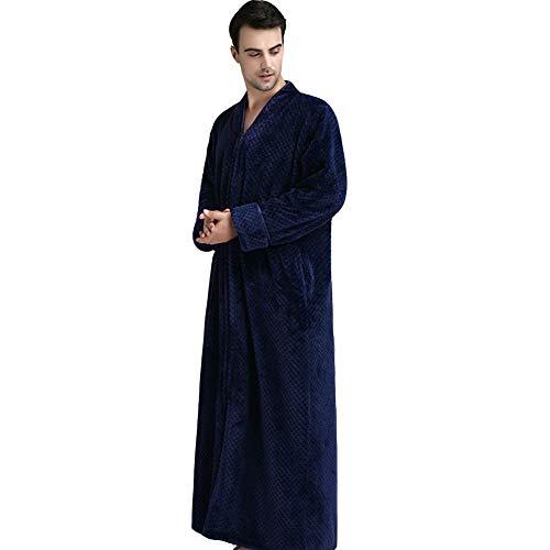 JIN Flanell-Schlafrock Unisex-Bademantel mit durchgehendem Reißverschluss Schalkragen-Hausmantel für Damen Herren Weicher Fleece-Bademantel Ganzkörper-Loungewear,H-M