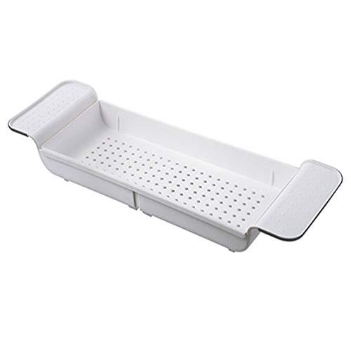LHK Bandeja Carrito para Estante bañera, Estante baño expandible, Soporte Almacenamiento Tina Antideslizante plástico Multifuncional, para baño de teléfono de Ducha de Vino de Libro [Blanco]