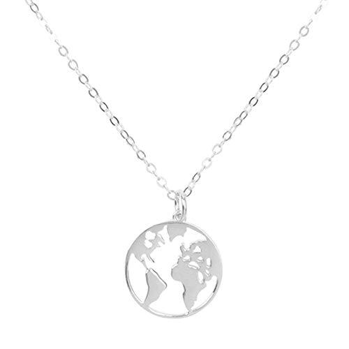 joyliveCY Nuevo Mapa del Mundo Collares Pendientes Wanderlust Personalizado Metal Moda Collar Regalo para Mujer Hombre