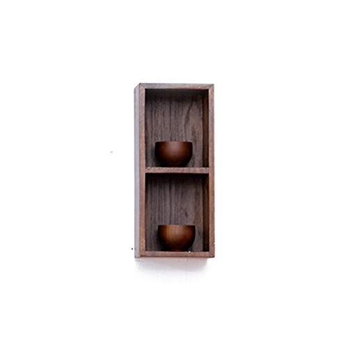 MASP Floating Shelves 2 Tier Wooden Shelf Beech Bookcase Shelving Stable Storage Shelf in The Living Room(Available in Two Colors) (Color : Walnut Color)