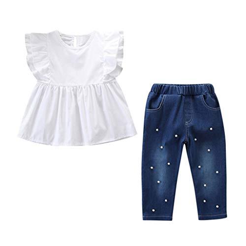 IMJONO Vetement Bebe Fille, 2PCS Ensemble Enfants Haut Manche Courte T-Shirt Blanc + Perle Denim Pantalon Jeans Ensemble 2-7 Ans(Blanc,2-3 Ans