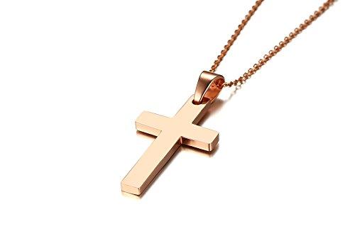VNOX Collar Colgante con Cruz Llana Simple De Acero Inoxidable Chapado En Oro Rosa De Los Hombres con 50cm O Link Curb Chain