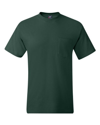 Hanes Men's Short Sleeve Beefy-T with Pocket, Deep Forest, X-Large