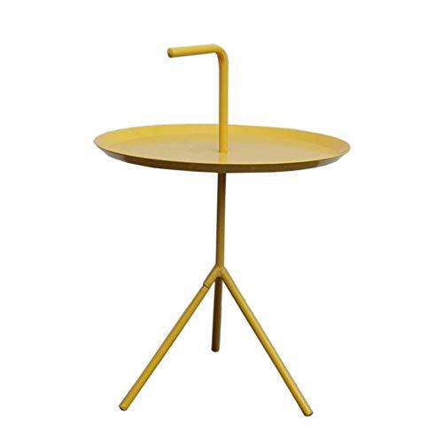 Jcnfa-bijzettafel Kleine koffie-/snacktafel, ronde metalen eindtafel voor binnen of buiten, Patio Steel bijzettafel met handvat