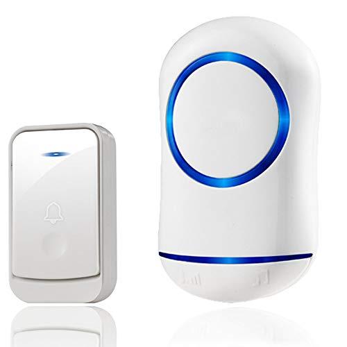 CAGYMJ Draadloze deurbel, deurbel Pager, 45 ringtonen, 4-level volume & blauw licht, waterdichte muur Plug-In draadloze deur Chime Kit met 200M bereik