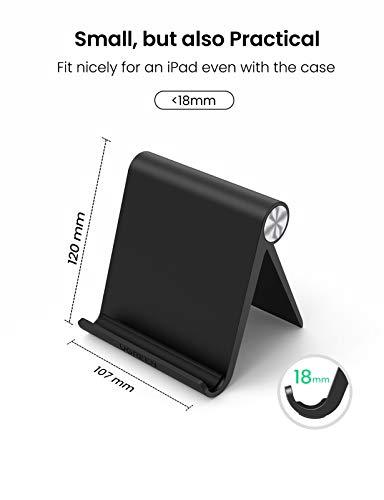 UGREEN Ständer Tablet Halterung Halter Tablet Ständer Tisch Handy Halter kompatibel mit iPad Air 3, iPad Pro, iPad Mini, MediaPad, Surface Pro 7, Galaxy Tab, iPhone 12 11 usw. bis 12 Zoll (Schwarz)