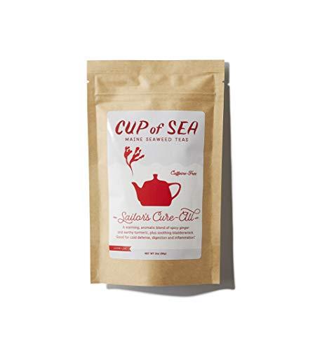 Bladderwrack Ginger Tumeric Seaweed Tea - Blend 1.5 oz Loose Tea - from Cup of Sea - Atlantic Ocean Maine Coast Sea Vegetables - Sailors Cure All - Caffeine Free - Earthy Flavor (COS SCA1.5)