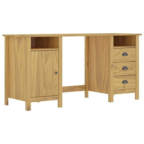 GOTOTOP - Mesa de estudio para ordenador (madera, 3 cajones, 2 compartimentos y 1 puerta, 150 x 50 x 74 cm), color marrón