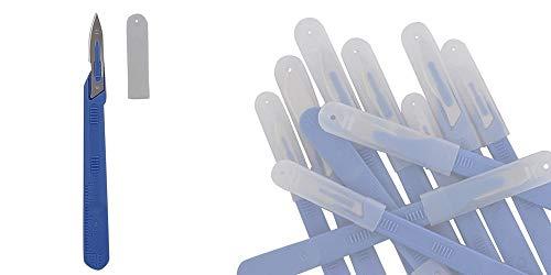 Preisvergleich Produktbild 10x Einwegskalpell Klinge Figur 18,  Kosmetex Einmal Skalpell,  mit Schutz-kappe,  einzeln steril verpackt,  Figur 18