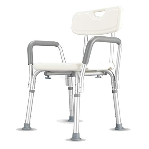 Bath Chair Shower Stool Shower Seat, Height Adjustable Non-Slip Aluminum Shower Stool with Backrest Shower Chair Bathroom Chair, for The Elderly, Disabled, Patients, Children Bathroom Wheelchair Aids