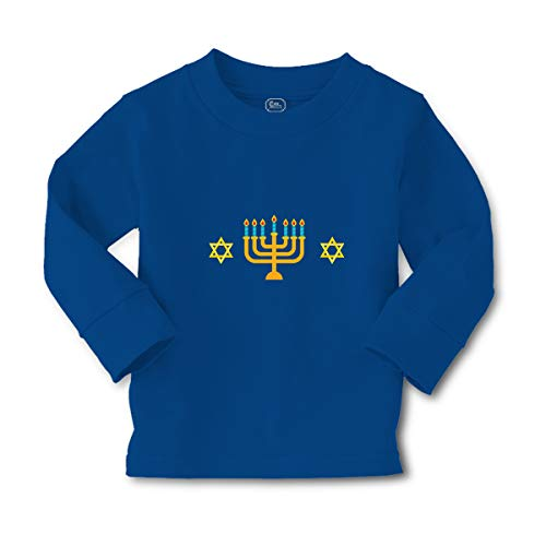 Cute Rascals Kids Long Sleeve T Shirt Hanukkah A Cotton Boy & Girl Clothes Funny Graphic Tee Royal Blue Design Only 5 6T