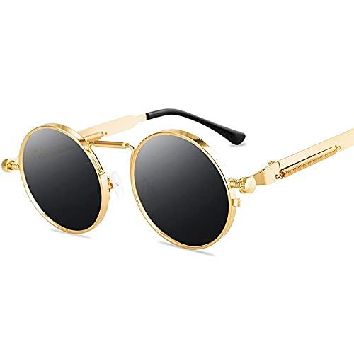 MIMITU Gafas de sol punk clásicas para mujer, espejo antirreflectante, gafas de sol redondas de metal, gafas de sol clásicas para hombre, nuevas gafas de primavera Uv400, gris