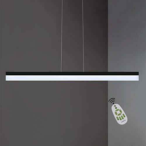 CBJKTX Lámpara colgante LED regulable con mando a distancia, 120 cm, 23 W, lámpara de oficina minimalista de metal y acrílico, lámpara de trabajo para salón, oficina, comedor, cafetería, restaurante