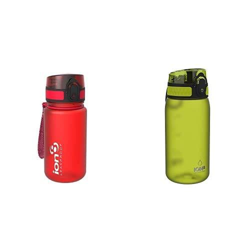 ion8 Leak Proof BPA Free, Botella de agua, sin BPS, a pueba de fugas, Rojo (Frosted Scarlet Red), 350 ml + Leak Proof BPA Free, Botella de agua, sin BPS, a pueba de fugas, Verde, 350 ml