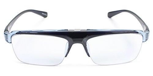 パール 跳ね上げ メガネ 度なし ブルーライトカット CSTADO スクエア ブルー LT-P301-3CBU 男性用