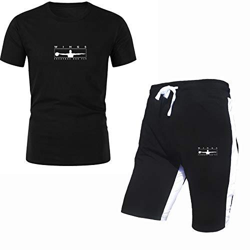 DREAMING-Traje de 2 piezas para hombre con estampado de primavera y verano, camiseta casual con traje de pantalón corto de 5 puntos, traje deportivo de manga corta de algodón para hombre L