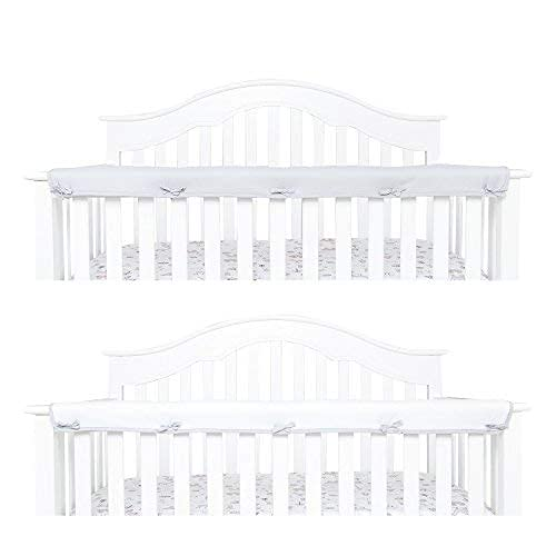 TILLYOU 1-Pack Padded Baby Crib Rail Cover Protector Safe Teething Guard Wrap for Long Front Crib Rails(Measuring Up to 8  Around), 100% Silky Soft Microfiber Polyester, Reversible, White Pale Gray