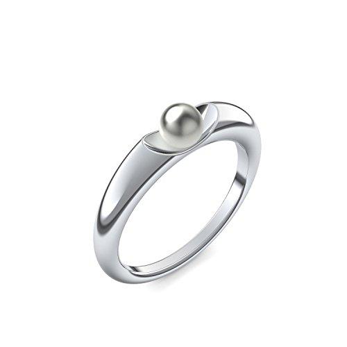 Perlenring Weißgold Ring Akoya Perle grau 750 + inkl. Luxusetui + Akoya Perle grau Ring Weißgold Perlenring Weißgold (Weißgold 750) - Ladylike Amoonic Schmuck Größe 48 AM64 WG750PGPE48