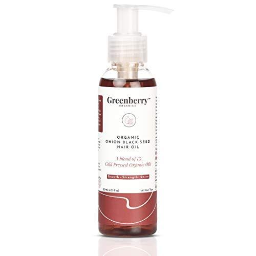Greenberry Organics Black Seed Onion Hair Oil, Organic & Cold Pressed Oil, Shiny, Strong Hair & Scalp, Hydration, 120 ML (4.05 oz)