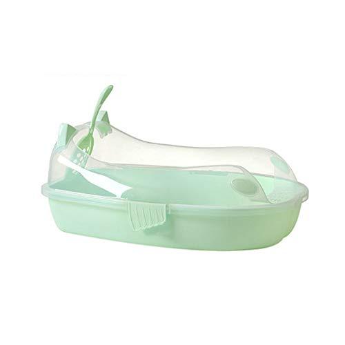 Yfdmbk Caja De Arena De Gato Heces Pot Semi-Cerrado Caja Caja De Arena Capa De Una Sola Capa Pino Desodorante Cat Suplementos (Color : Green)
