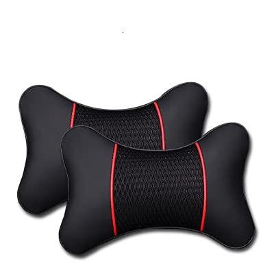 Almohadas de coche PU Reposacabezas de piel de cuero de reposacabezas de cuello de reposacaboya de apoyo accesorios de asiento Auto Black Safety Almohada Universal Deco ( Color : 2 PCS black red )