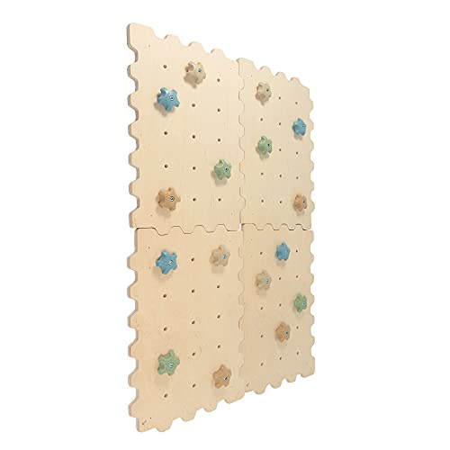 Kletterwand Indoor für Kinder mit Griffe | Nachhaltig Kinder Kletterwand aus natürlichem Holz | Kletterwand Kinderzimmer minimalistisches Design Pastellfarben | 100% ECO | Made in EU (4 Module)