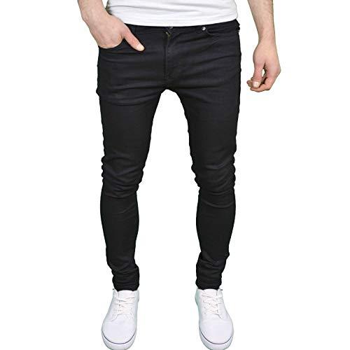 Enzo Mens Designer Branded Super Stretch Skinny Fit Jeans (42W x 30L, Black)