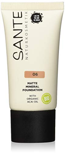 SANTE Naturkosmetik Matte Mineral Foundation 06 Warm Caramel, Dark Skin Tone, Matte Finish, Natural Make-Up, Vegan, 30 ml