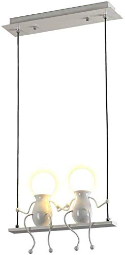 Moderne kroonluchter met 2 vlammen hanger lamp zwart ijzer pop design plafondlamp voor eetkamer slaapkamer woonkamer kinderkamer verstelbaar licht (kleur: wit)