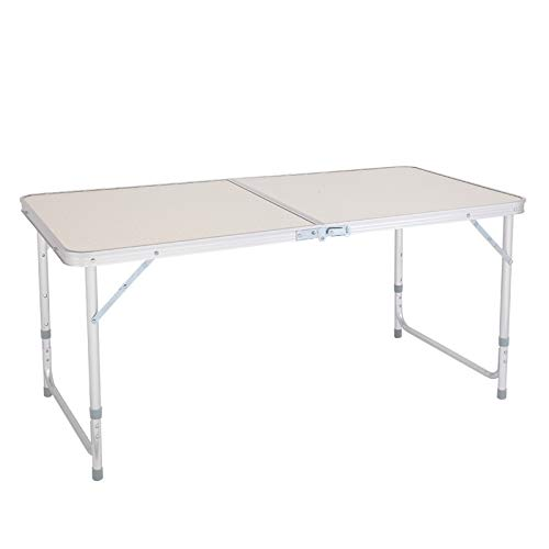 Mesa plegable multiusos portátil de 120 x 60 x 70 cm, color blanco