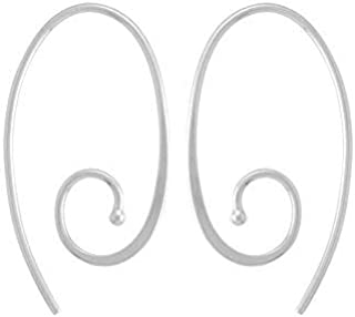 Jewelry Sterling Silver Oval Spiral Pull Through Hoop Earrings