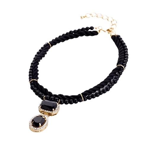 collar Accesorios Collar Con Colgante De Cristal De Diseño Corto De Cuerda Tejida A Mano