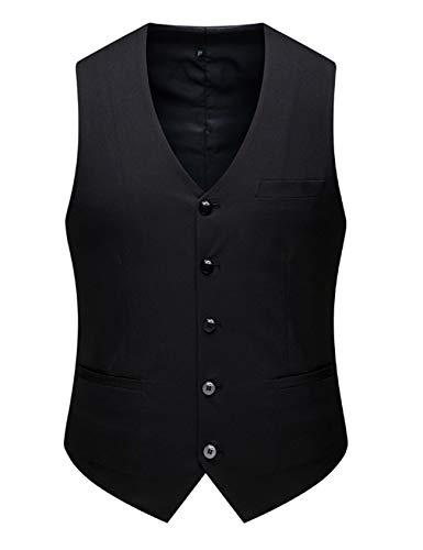 Bestgift masculino terno formal colete casual botão baixo colete M preto