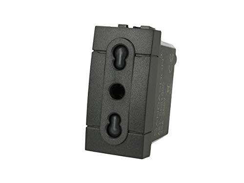 Sandasdson SD81800 - Toma bipaso 2P + T 10/16 A negra compatible con Bticino Living