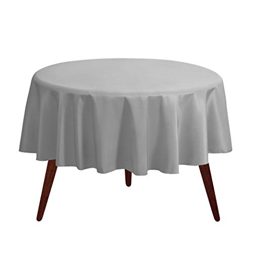 """Gee Di Moda Tablecloth - 70"""" Inch Round Tablecloths for Circular Table Cover in Silver Washable Polyester - Great for Buffet Table, Parties, Holiday Dinner & More"""