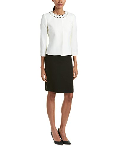Tahari by Arthur S. Levine Women's Missy Crepe Skirt Suit with Beading, Cloud/Black, 4