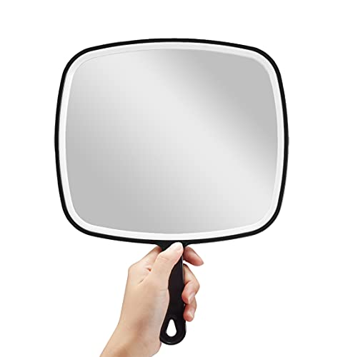 OMIRO Hand Mirror, Extra Large Black Handheld Mirror with Handle,Square,XL