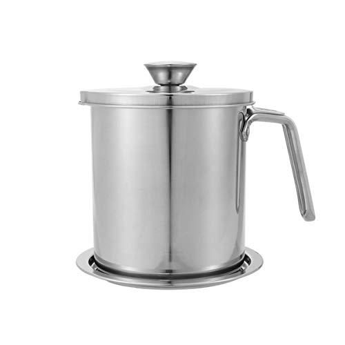 BESTONZON Fettkanne mit Sieb Fettbehälter 304 Edelstahl Speiseölkannensieb für Haushaltsölbehälter (1 6 L)