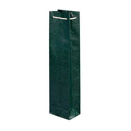 50 Stück Tasche für Wein grün 95+65x380 cm | stabile Premium Geschenktüten | Flaschentasche mit Baumwollkordel | Flaschentüten | HUTNER