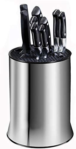 Ceppo Portacoltelli universali con fessure per forbici e affilatura, per una facile pulizia, in acciaio inossidabile, antiruggine 18x23cm