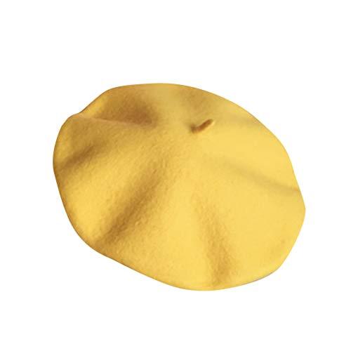 Baohooya Invierno Bebe Gorros 2-7 Años - Boina de Lana Caliente Color SóLido Estilo Británico Sombrero de Pintor para Niña Niño