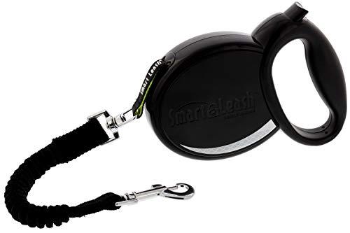 SmartLeash Retractable Dog Leash, Black, Medium 14ft - for Dogs up to 40lbs - Heavy Duty Dog Leash Auto-Locks Like a Seatbelt for Worry-Free Walks - One Button Brake & Lock, Non-Slip Handle