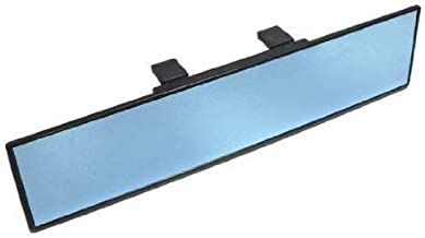 iJDMTOY Universal Fit JDM 300mm 12-Inch Wide Anti-Glare Blue Tint Flat Clip On Rear View Mirror for Car SUV Van Truck, etc
